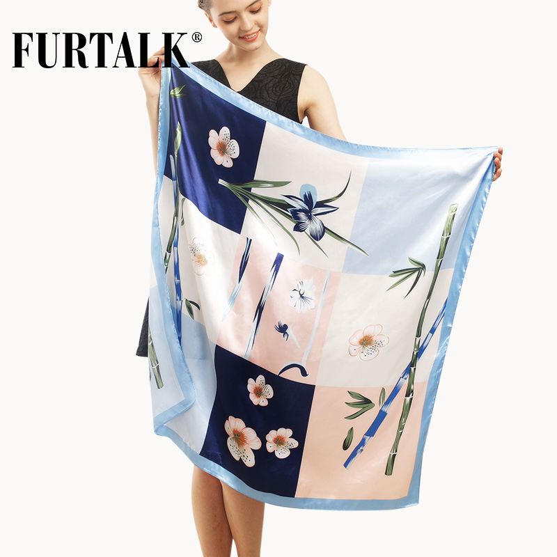 FURTALK 90*90cm Luxury Brand Women Satin Silk Scarf Female European Style Print Head Square Scarves Summer Shawls For Ladies