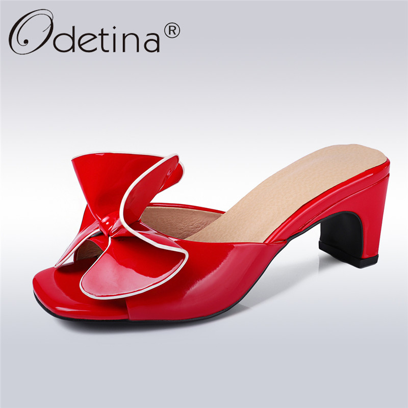 Odetina New Fashion Summer Slippers Women High Heels Butterfly Knot Designer Shoes Square Peep Toe Slide Dress Shoes Big Size 44