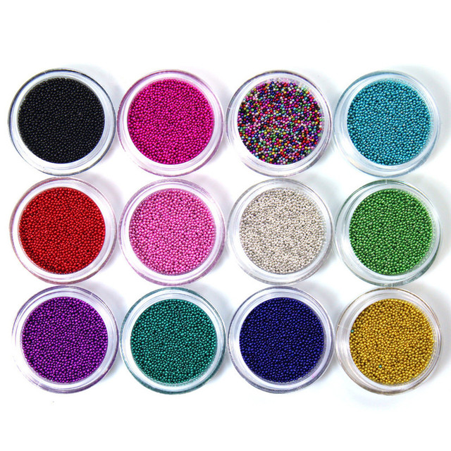 Micro Kralen Sprinkles Nail Art Decorations 12 Kleuren Bundel Kit