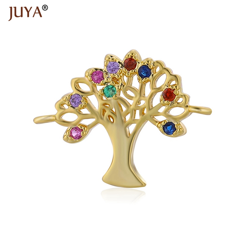 Accessories For Jewelry Fashion Rhinestone Life Tree Pendant Charms Connectors DIY Bracelets Necklace Findings Components