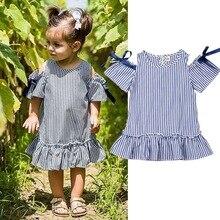 Off Shoulder Dress For Girls Cute Toddler Baby Girls Short Sleeve Dress Princess Party Dresses 2019 New Striped Vestidos D20 стакан для зубных щеток raiber r53902 одинарный