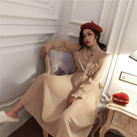 Autumn Winter Women Dress Vintage Sweet Ruffles Flare Sleeve O Neck Female Casual Straight Chiffon Maxi Long Dress Pull Femme