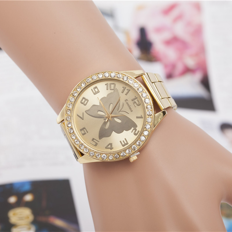 KANIMA Lovers Quartz Watches Women Men Gold WristWatches Top Brand Luxury Female Male Clock Golden Steel