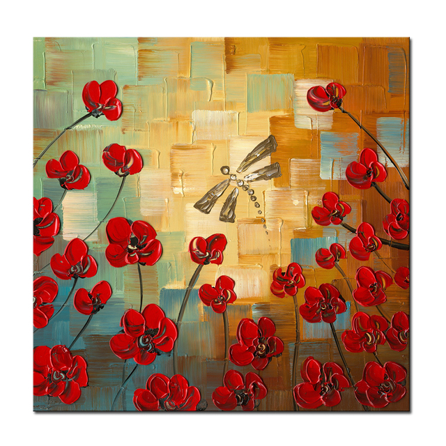 Wieco Art Flower Hand Painted Canvas Oil Paintings Kitchen Wall Art ...