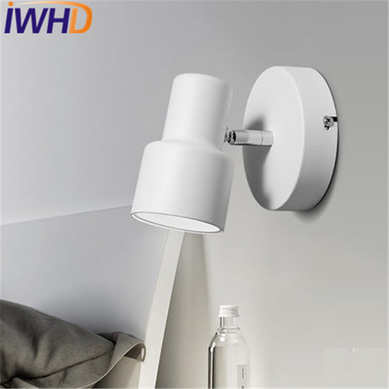 IWHD Simple Modern LED Wall Light Fixtures Creative Iron Rotary chimney Wall Sconce Bedroom Bedside wall Lamp Indoor Lighting