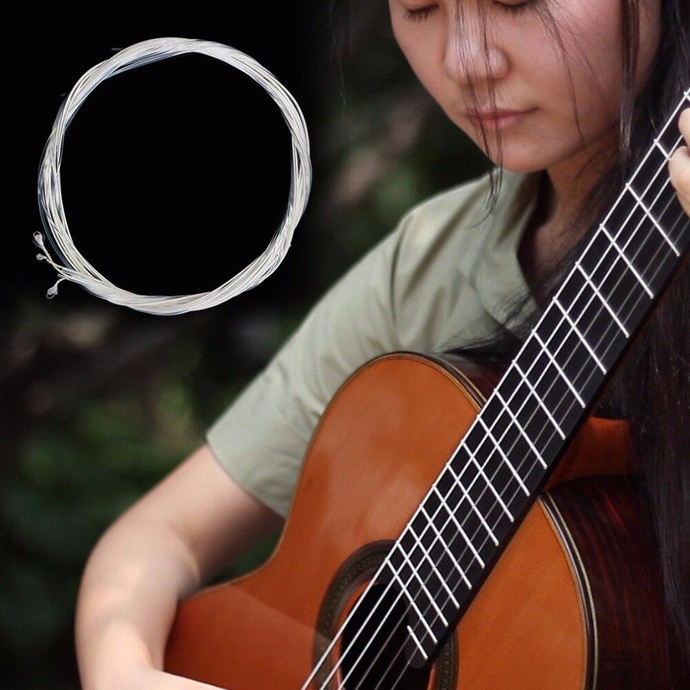 צאי 1 pc/2 יחידות כסף ניילון מיתרי סט של גיטרה קלאסית 1 M 1-6 E B G D E, Guitarra בס חלקים ואבזרים