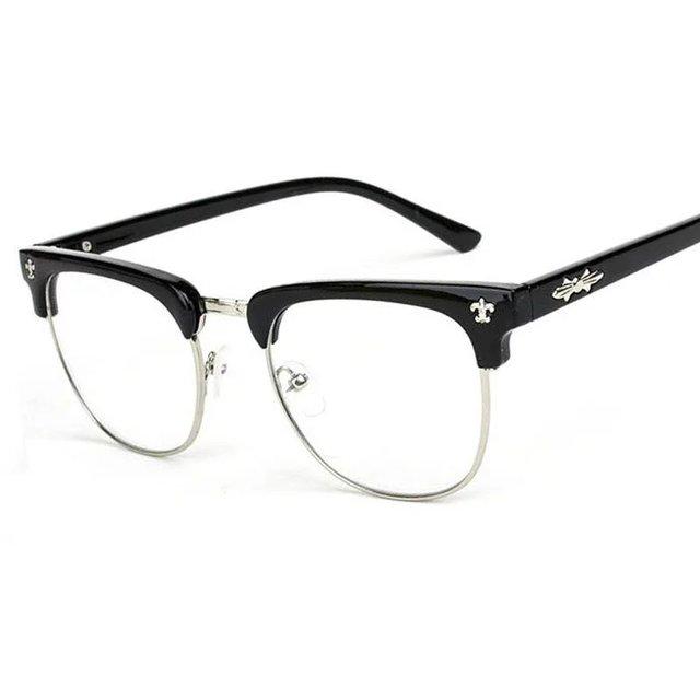 8c8095ab915 Vintage Semi-rimless Eyewear Brand Designer Women Square Eyeglass Frame  Stylish Men Optical Frames