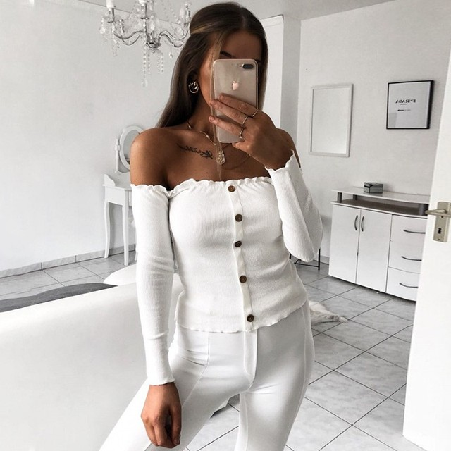e52d0bcced2a4 US $9.99 40% OFF|DeRuiLaDy Women Sexy Off Shoulder Ruffles Button T Shirt  2018 Autumn Winter Long Sleeve Slim Short T Shirts Tops Casual Tees-in ...