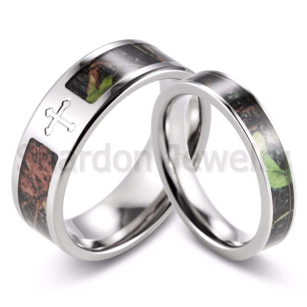 Shardon Couple Cross Camo Engagement Wedding Ring Set Titanium Green Mossy  Tree Camo Ring Set For