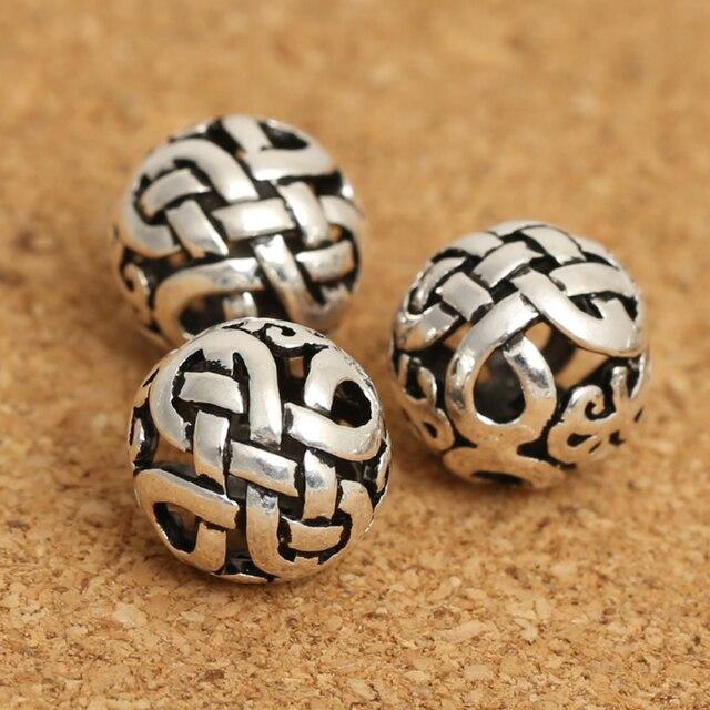 Handmade 925 Silver Tibetan Endless Knot Beads Sterling Silver
