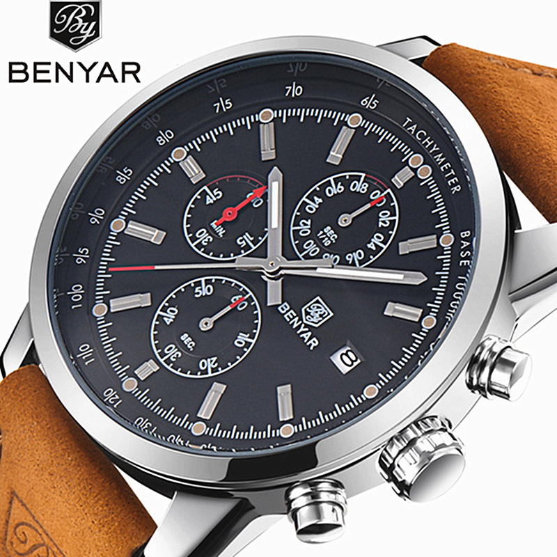 BENYAR Fashion Men Watch Sport Men Watches Top Brand Luxury Military Quartz Watch Chronograph Waterproof Clock Relogio Masculino relogio masculino high quality waterproof watches men guanqin top brand luxury watch fashion casual clock military quartz watch