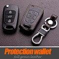 Leather Car Keychain Key Rings Cover For Kia Rio K2 K5 Sportage 2013 Ceed Cerato Sorento Soul Bongo Shuma Carens Key Cover Case