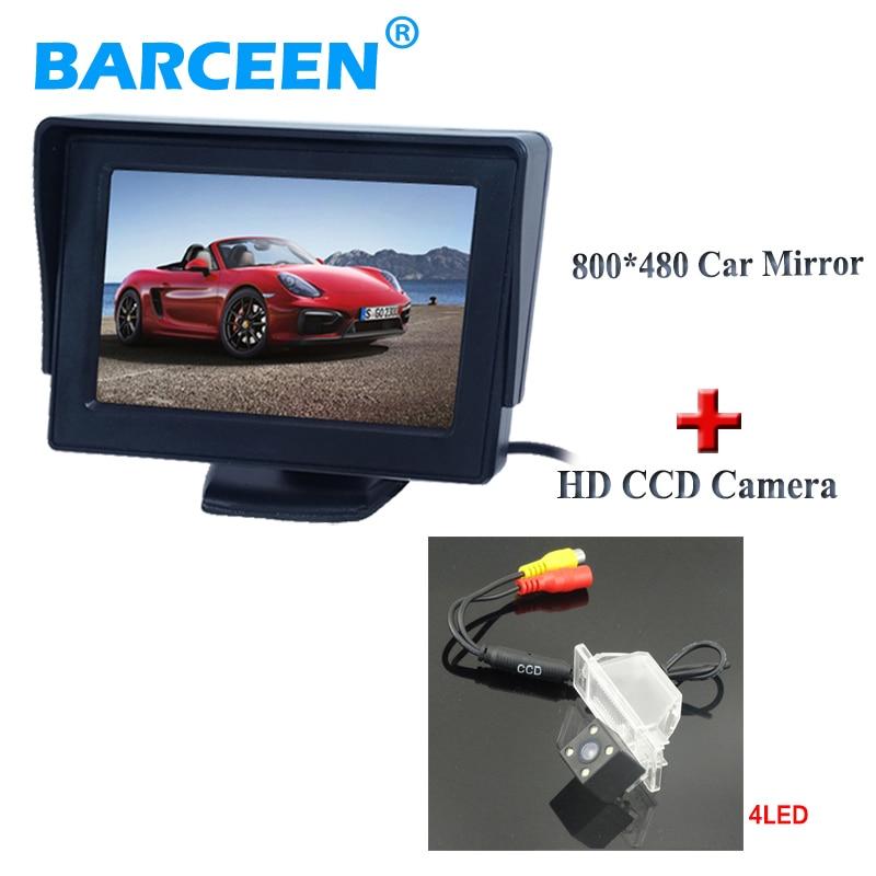 4 LED car reserve reversing camera glass lens+TFT car rearview monitor for  NISSAN QASHQAI X-TRAIL for Peugeot 307 Hatchback