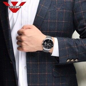 Image 5 - NIBOSI גברים של שחור שעונים חיוג מתכת בנד יוקרה מפורסם למעלה מותג גברים אופנה מזדמן שמלת צבאי קוורץ כסף שעוני יד