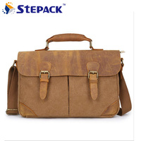 New Arrival Crazy Horse Genuine Leather Vintage Men Messenger Bag Canvas Leather Bag For Men Buiness