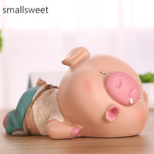 Piggy Pig Lying Posture Home Resin Craft Ornaments Money Box Piggy Bank Cash Box Coin Bank Moneybox Coin Box Large Piggy Bank цены