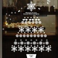 Szczęśliwego Nowego Roku Boże Narodzenie drzewo store śniegu sklep dekoracji wnętrz szkło okienne naklejki ciepły romantyczny sklep odzieżowy