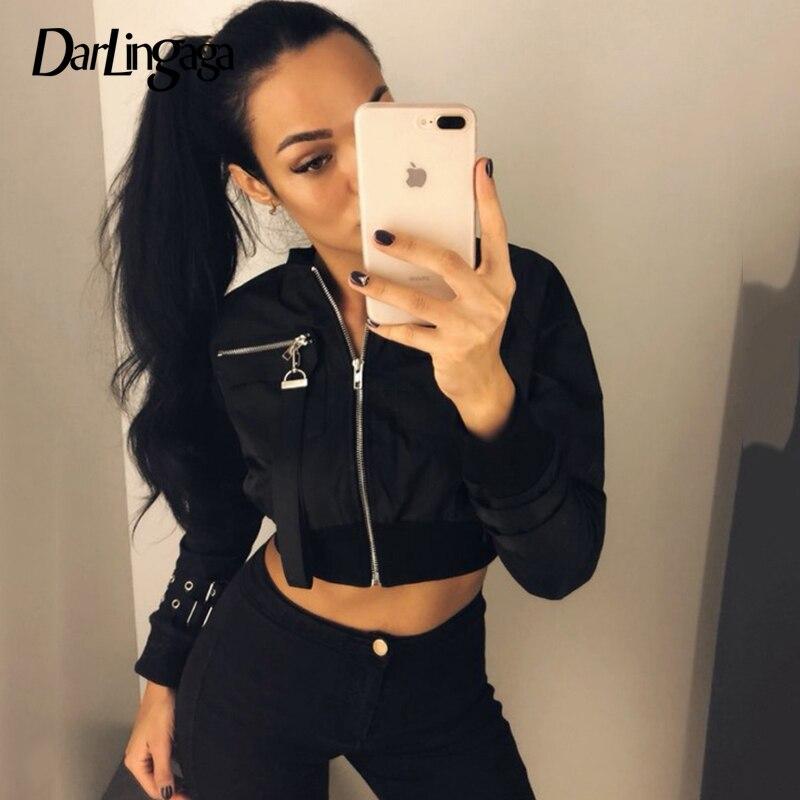 Punk Style Ribbon Zipper Jackets Women/'s 2019 Autumn Slim Cropped Coats Tops