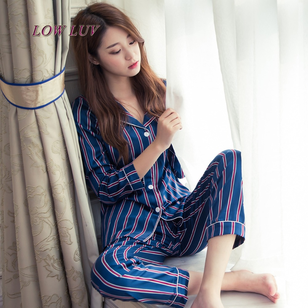 Spring and autumn silk pajamas ice silk long sleeves thin section of the cardigan sweet silk cotton summer set home service