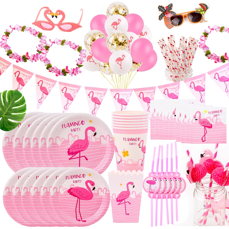 FENGRISE Hawaii Party Luau Pink Flamingo Party Decor Paper Plate Cup Napkin Birthday Party Summer Hawaii Hawaiian Party Supplies