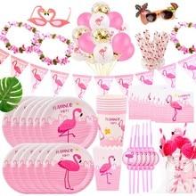 Fengrise festa do havaí luau rosa, festa de flamingo, papel, decoração, copo, guardanapo, festa de aniversário, verão, suprimentos para festa havaiana