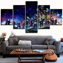 Home Decor Living Room Poster 5 Pieces Movie Avengers Infinity War All Superhero Characters Canvas Printed Wall Art Pictures