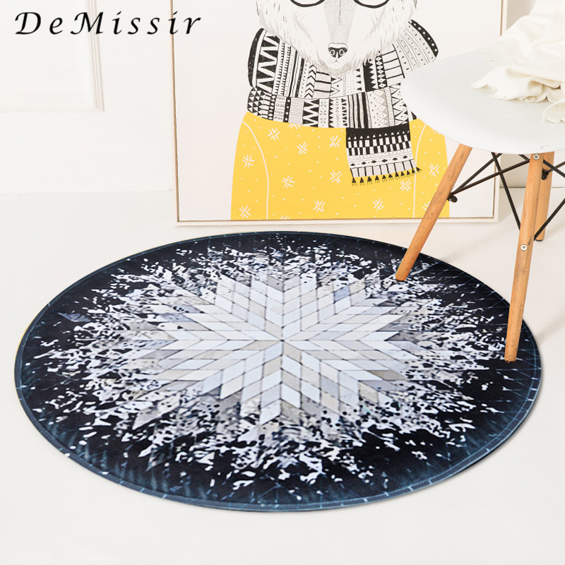 Demissir geometry spatter radial pattern round carpet for for Fleece tapete