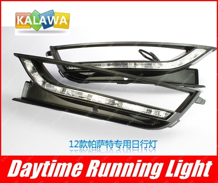 one pair LED daytime running lights case for Volkswagen VW Passat 2012 Dedicated DRL replace original light VW-052Z GGG  1 pair 9w led daytime running light fit for audi a6l 9led drl fit for volkswagen passat with turning function free shipping