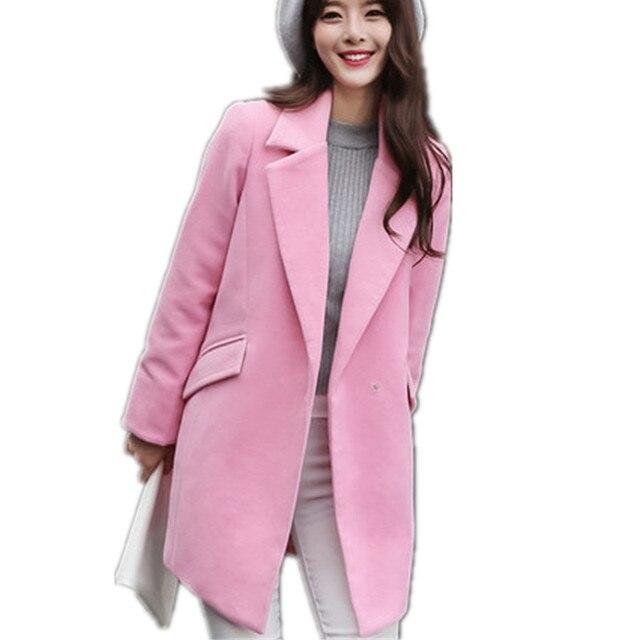 S-XXL Casacos Femininos 2017 Spring New Fashion Simple Pink Navy Long Turn Down Collar Pocket Wool Coat Loose One Button YY424