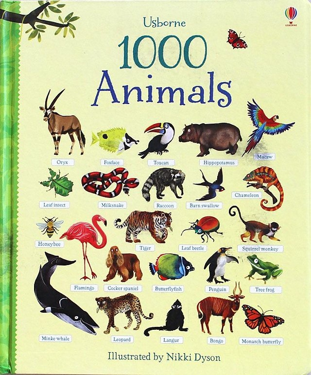 1 Pcs 1000 Animals  Word Learning Board Book Famous Picture For Kids Girls Gifts Books For Children
