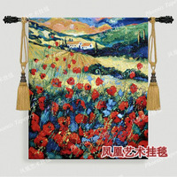 Rustic opened opium poppy tapestry 80*70cm fashion wall hangings decoration 100% cotton fabric soft home textile product H160