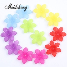 50pc 27mm Multi Colorful Acrylic Flower Beads Monochrome Six petals high quality Cheap beads for DIY needlework Jewelry making