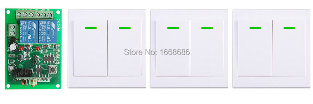 Digital Remote Control Switch DC12V 2CH Receiver +3*Wall Transmitter Wireless Power Switch 315MHZ Radio Controlled Switch Relay fk 922a 2 ch family use digital wireless remote control switch white