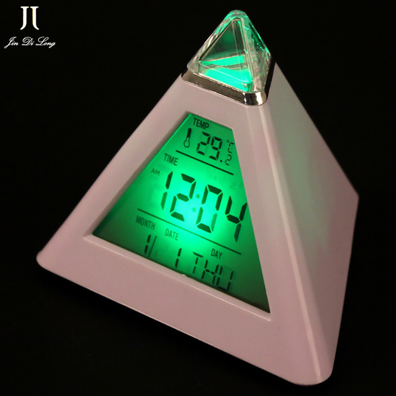 Alarm Clock LED Digital Pyramid Colorful Desk Clock Snooze Function Temperature Display Min Portable Projector Table Alarm Clock