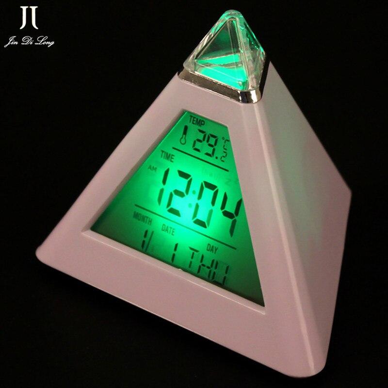 Digital Alarm Clock Pyramid LED Colorful Desk Clock Snooze Function Temperature Display Min Protable Projector Table Clock