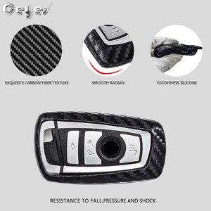 Image 3 - Ceyes רכב סטיילינג אוטומטי סיבי פחמן מפתח כיסוי מעטפת מקרה עבור Bmw חדש 1 3 4 5 6 7 סדרת F10 F20 F30 חכם 3 כפתורי אביזרים