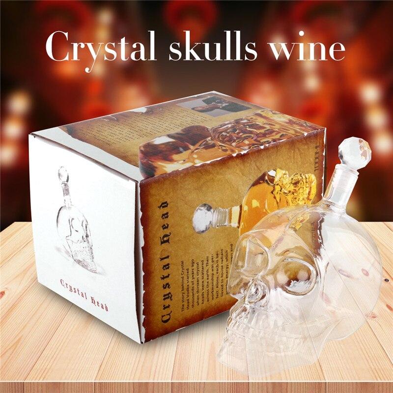 Vino Skull Decanter cristal cráneo de cristal botella jarra mágica Vin Cristal de rojo vino pourer Decanter hecho a mano