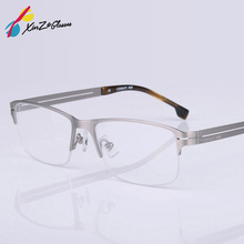 bfe7d4eda8 2017 hot Fashion Stainless steel half frame business men spectacle frame  myopia presbyopia eyeglasses semi-
