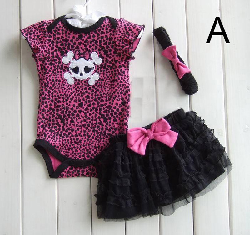 Baby Girl Clothing Sets Summer 2017 Fashion Kawaii Rompers+Lace Skirts+Headband 3pcs Polka Dot Bow Girls Clothes Outfits Set