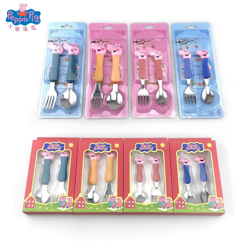 Peppa Pig Tableware Spoon Cross Fork Soup Spoon Set Training Eat Lunch Steak George Cartoon Action Figures Toy For Gift