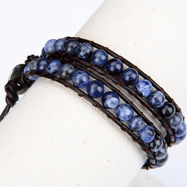 Bracelet Pierres De Sodalite Minéral Bleu Gris