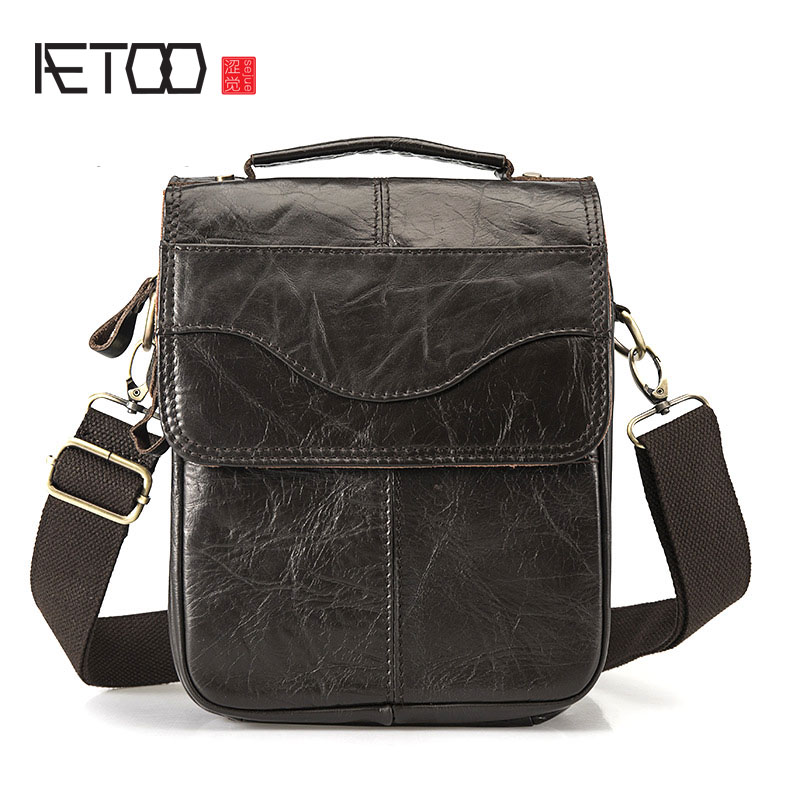 все цены на AETOO Vintage oil wax leather leather Europe and America men's 8 inch summer travel shoulder diagonal package