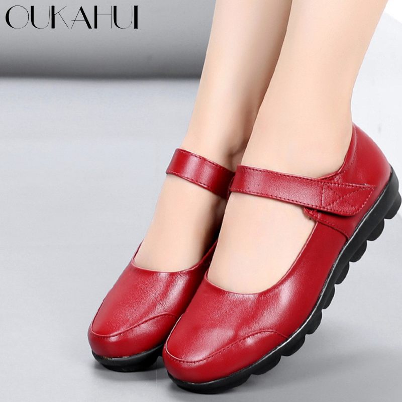 OUKAHUI Mary Jane Style Spring Hook Loop Genuine Leather Flat Shoes Woman Round Toe Low Heel Autumn Solid Simple Work Shoes Lady