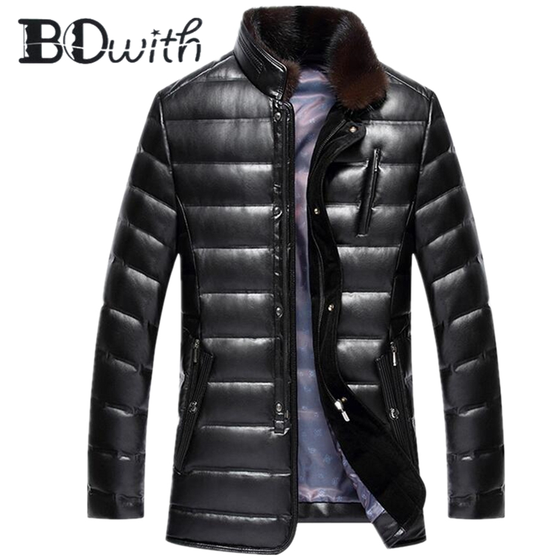 90% Goose Solid Duck   Down     Coat   for Men Woolen Collar Leather Lightweight Winter Protection Jacket for Outdoor Sports
