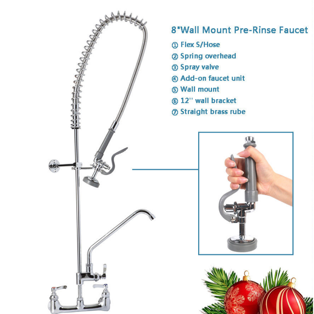 """Commercial Kitchen 8""""Wall Mount Pre Rinse Faucet Add on faucet 12'' wall bracket Stainlesssteel spare part