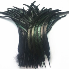 50Pcs/Lot Black Rooster Tail Feather 30-35cm 12-14inch Natural Feathers For Crafts Wedding Decoration Clothing Accessories Plume