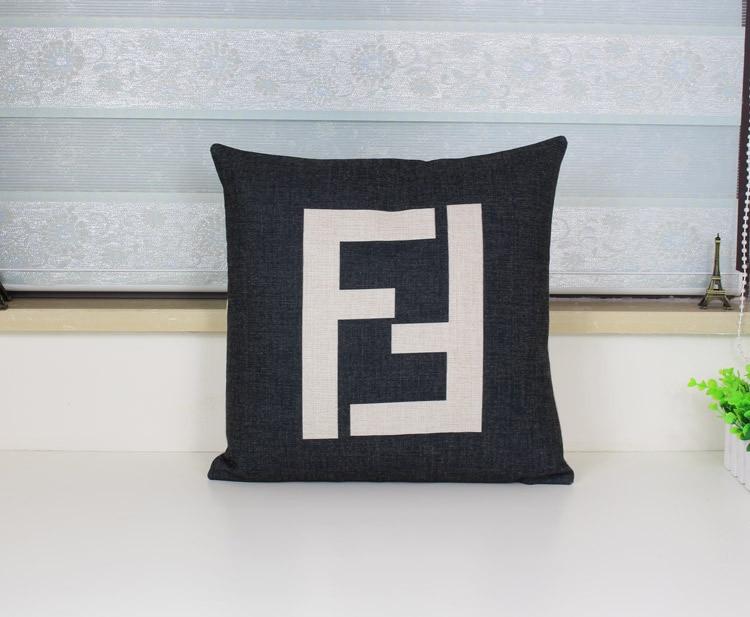 F Pillow Cover, Geometry Lattice Logo Art Paris FF Luxurious Throw Pillow Case Pillowcase Wholesale
