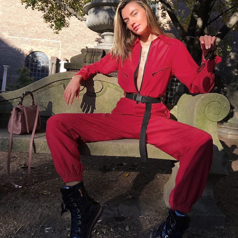 Cargo Red Loose Jumpsuit 2018 Women Long Pants Long Sleeve Pocket Streetwear Sexy Jumpsuit Zipper Up Turtleneck Patchwork Romper
