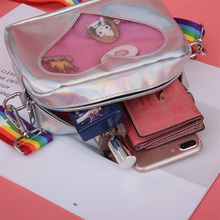 Kawaii Women Messenger Crossbody Bag Cute Clear Transparent Heart Ita Girls Handbags Fashion Cartoon Printing Shoulder Bag 2018