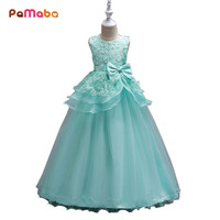 PaMaBa 5 16T Big Girls Flower Elegant Princess Party Dress Kids Summer Sundress Children Girl Pageant